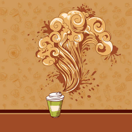 Hand-drawing menu cover with coffee, sweets and pastry  Vector