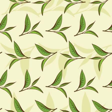 Seamless pattern illustrated nature, tea leaves and high-vitamin diet  일러스트