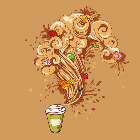 all in one: Hand-drawing vector concept  Coffee cup with waves of aroma and power effect with all one Stock Photo