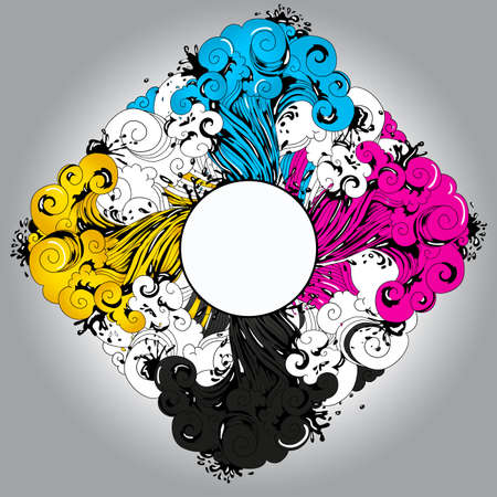 Conceptual illustration CMYK theme  place for your text   Relevant for polygraphy themes