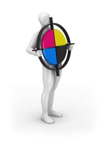 polygraphic: White figure of a man presents a CMYK symbol  sign