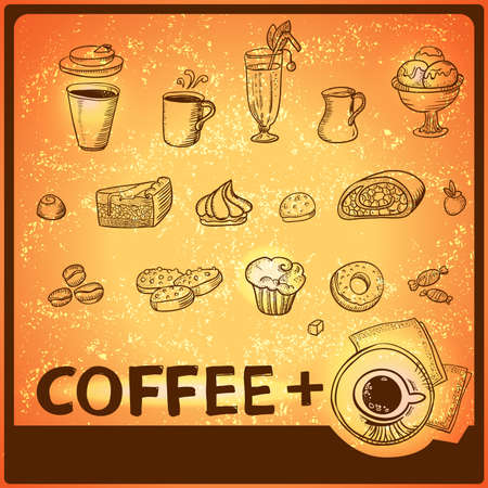 Hand drawing icons set for coffee theme design. photo
