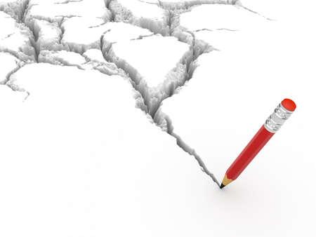亀裂と真実の鉛筆 (クラック、鉛筆から形成される)