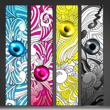 Banners set illustrated concept of poligraphy technology and art Vector