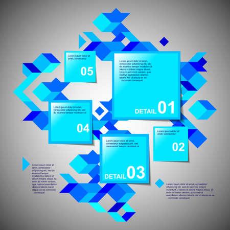five objects: Di colore blu cinque passaggi con pi� oggetti quadrati. Vettore. Facile modificabile. Vettoriali