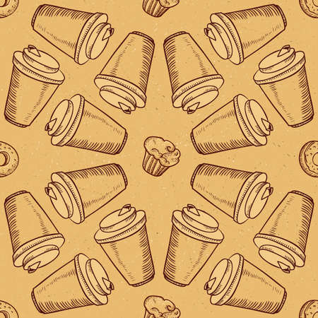 tearoom: Seamless vector background with coffee and pastry