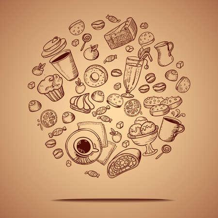 コーヒーとペストリーの手のアイコンを描画するとカード ベクトル。  イラスト・ベクター素材