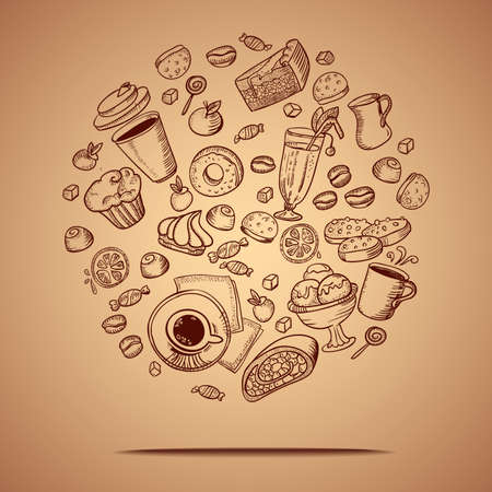 Vector card with coffee and pastry hand drawing icons.