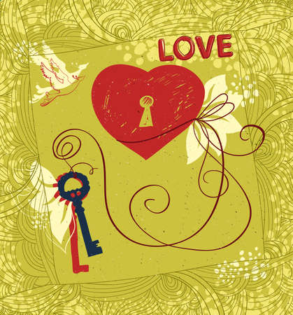 handcrafted: Vector card.  Contemporary handcrafted technique. Theme of love and Valentines day.  Illustration