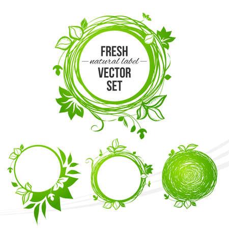 Vector natuurlijke gekleurde cirkel labels set ontwerp