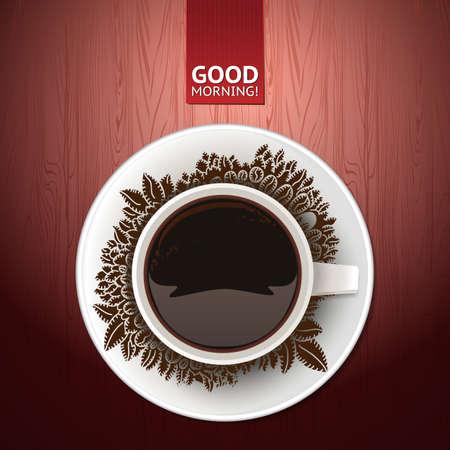 good break: Ilustraci�n del vector de la taza de caf� con las habas y el fondo de madera Vectores