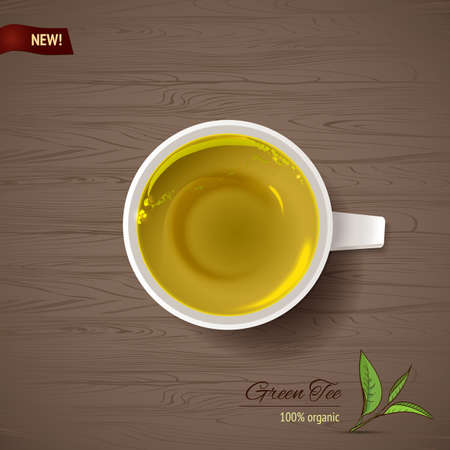 morning tea: Vector illustration of natural green tea (top view cup)