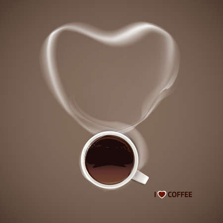 top menu: Vector coffee cup with steam heart. Loving coffee concept. Illustration