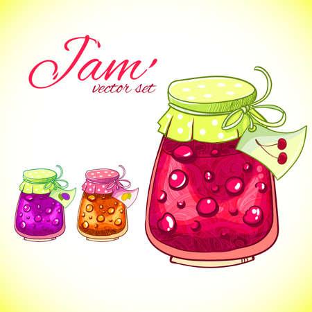 甘い食べ物: ベクトル ジャムは手描きのイラストを設定します。甘い食べ物のデザイン要素です。
