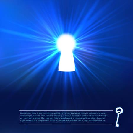 Sleutelgat verlichting met sleutel en plaats voor tekst. Vector achtergrond.