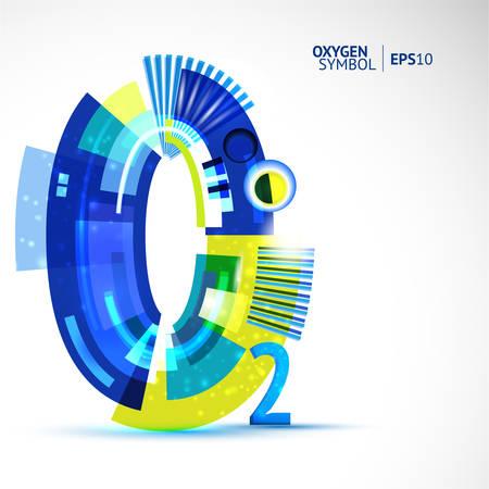 oxigen: Vector cretivity colorful illustration of oxigen chemical symbol.