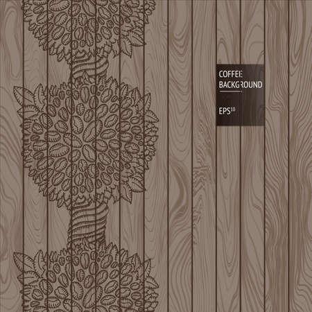 bovenaanzicht plant: Vector houten achtergrond met koffie planten naadloze ornament