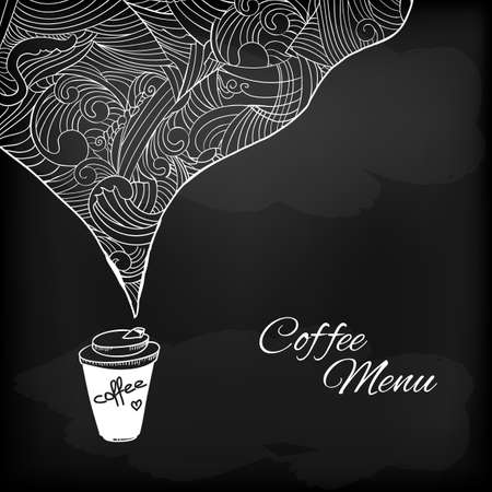 Coffee to go chalk drawing  Flavored coffee  Vector sketch illustration  일러스트