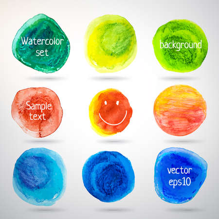 seson: Colorful watercolor vector circles set  Abstract drawing decor  Green, red, blue color of paper  Illustration