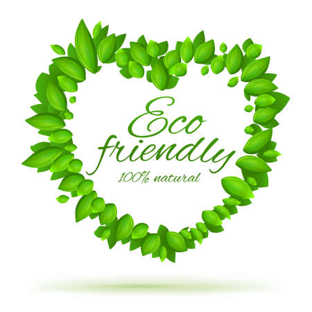 Eco friendly label  Natural food icon   Green heart shape  Products with love