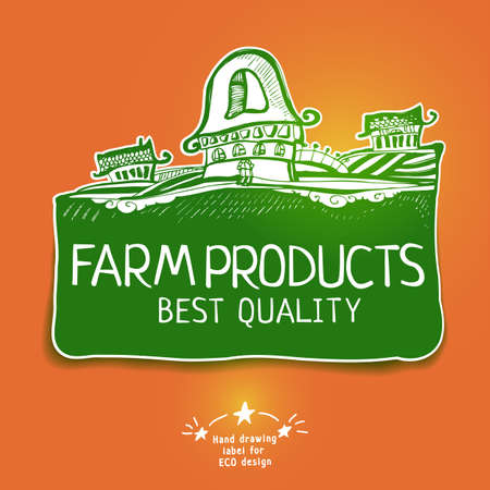 house market: Vector drawing product label  Sketch emblem of healphy food  Best product design elements