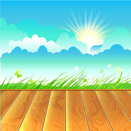 eco tourism: Rural landscape  Scyline, grass and wooden floor  Eco tourism card  Sunny sky vector background