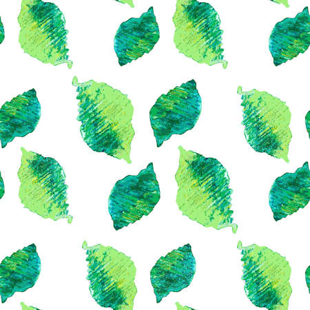 Seamless green leaves pattern  Natural green tea leaves  Vector watercolor drawing  Vector