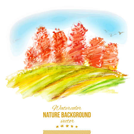 Vector watercolor autumn illustration  Abstract forest with orange trees  Nature hand drawing background