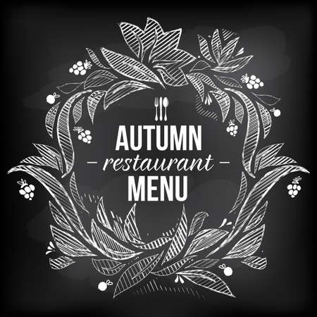 restaraunt: menu chalkboard. Autumn offer. Chalk sketch. Hand drawing. Illustration