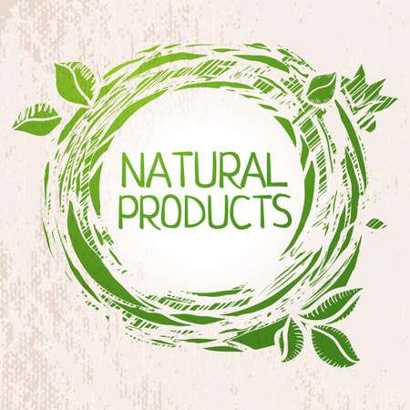 productos naturales: Los productos naturales etiqueta verde boceto coloreado.