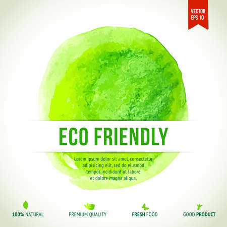 Watercolor green eco friendly circle label. Natural product design element. Vector