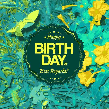 best regards: Birthday card design. Best regards label.  Illustration