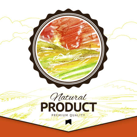 scetch: Abstract watercolor vector eco food label. Ecology scetch illustration.