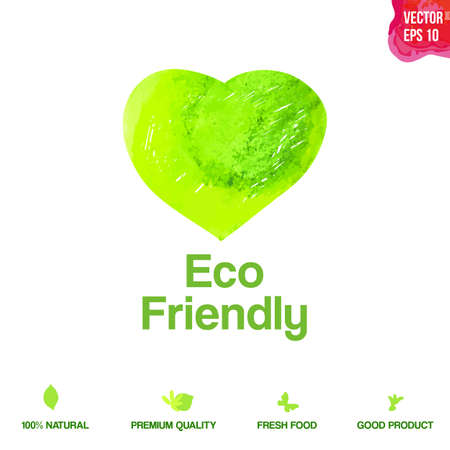 Watercolor vector green eco friendly heart shape label. Natural product symbol. Food icon design element. Vector