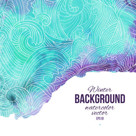 Winter abstract background. Vector hand drawn watercolor background with decorative label,vector illustration, stain watercolors on wet paper. Watercolor elements for scrapbook. 일러스트