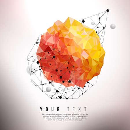 Vector concept of energy element. Communications technology center. Retro styled creative design background. Futuristic design. Vector geometric design.
