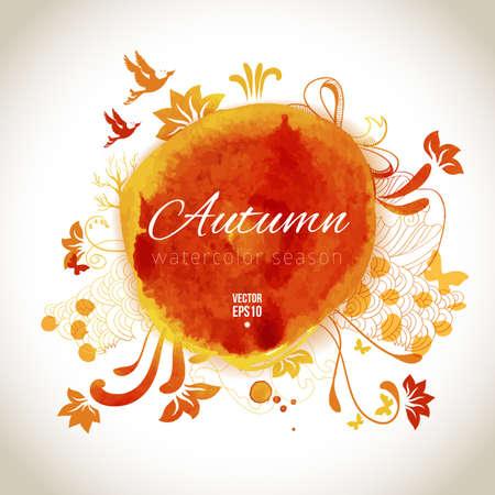 Vector watercolor label. Autumn art design elements. Vector