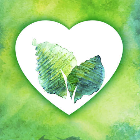 Eco friendly  drawing vector symbol. Watercolor leaves and heart shape. Go green illustration. Ecology emblem. Hand drawing watercolor colorful background. Vector