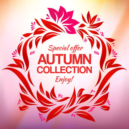 대기의: Autumn collection label. Drawing vector label four new special offer. Vintage colorful label. Atmospheric effect illustration.