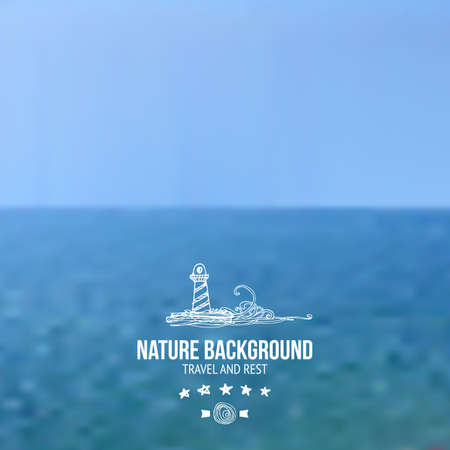 sea waves: Vector blur sea background. Unfocus sea waves and sky. Water template.