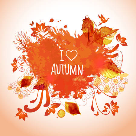 Vector watercolor illustration. I love autumn message. Hand drawing text and design elements. Vector