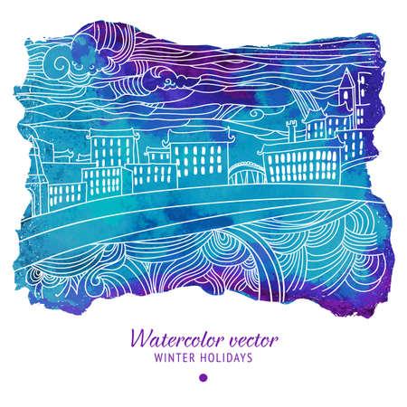 winter holidays: Winter holidays abstract drawing card.