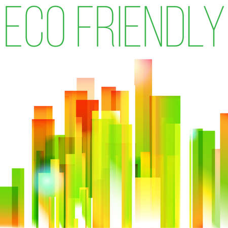 Rainbow eco friendly city background.