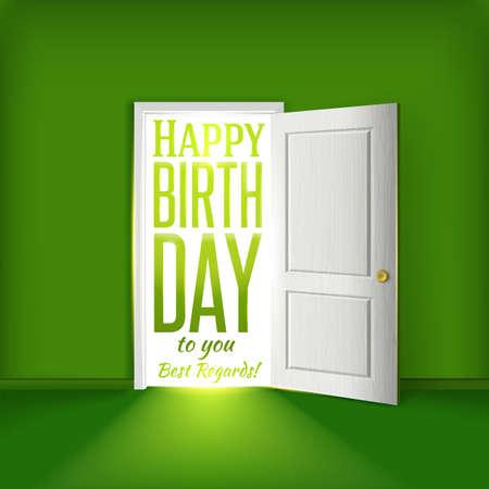 home birth: birthday card concept Party invitation illustration.