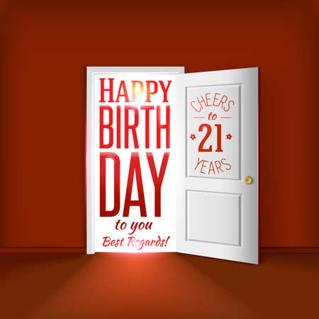 21 birthday card concept. Vector
