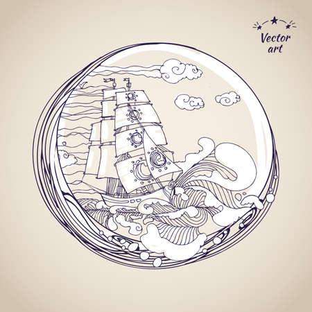 sailfish: Sketch disegno a penna pesci vela a vecchia carta.