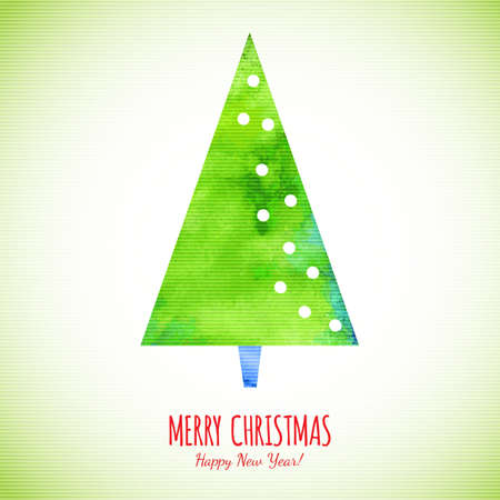 christmas watercolor: Merry Christmas watercolor textured tree.