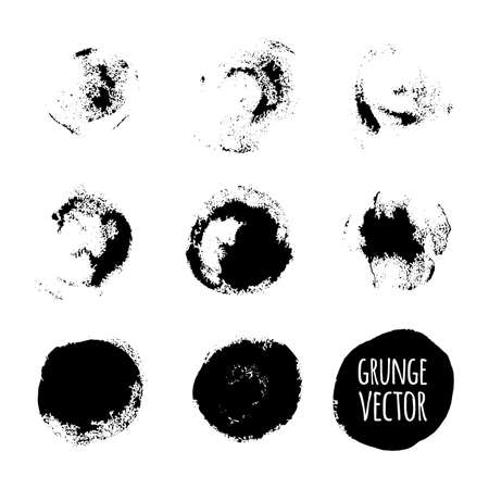 digital paint: Black grunge vector painted stamps set. Paintbrush circle texture. Illustration