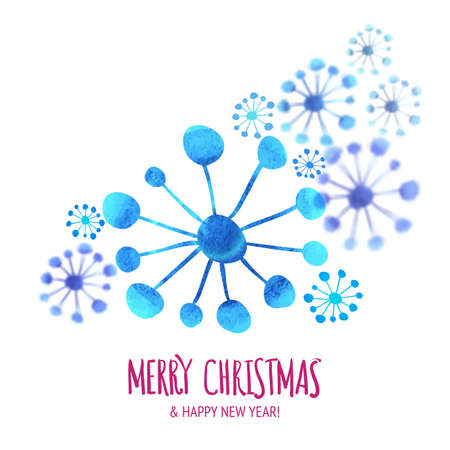greeting season: Winter isolated snowflakes background. Vector blur effect. Xmas greeting card design. Watercolor snowflake and hand drawing typography for poster, season illustration.