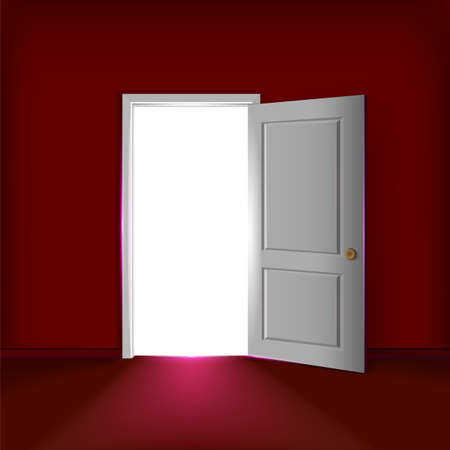Vector open door concept. Lighting opened door at the red wall in an empty room. 일러스트